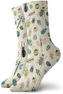 tyui7, Calcetines de compresión antideslizantes de insectos de dibujos animados Calcetines deportivos acogedores de 30 cm para hombres, mujeres, niños
