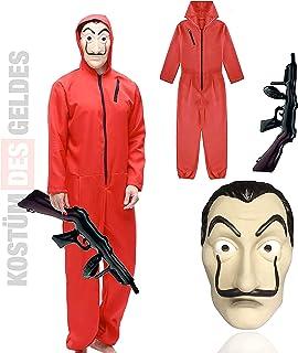 1x kostuumset - House of Money voor volwassenen unisex met masker van Dali Salvador, opblaasbaar geweer, rode jumpsuit voo...