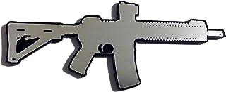Ar-15 Assault Rifle Vehicle Car Badge Emblem Silver with Black Stick-on Anywhere Flat