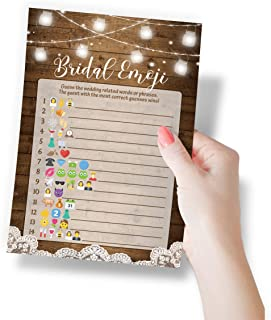 Rustic Emoji Bridal Shower Game, Set of 50 Cards, Emoji Pictionary Activity, Fun, Unique and Easy