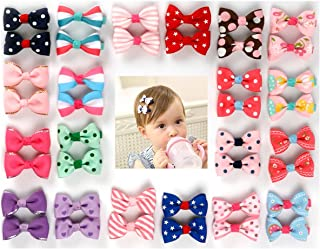 Ezerbery 40 pcs 1.8 Baby Girls Ribbon Hair Bow Clips Barrettes for Girl Teens Kids Babies Toddlers Printed Pattern