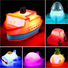 6 packs Light up Boat Bath Toy Set, Flashing Color Changing Light in Water, Floating Rubber Bathtub Toys for Baby Toddler ...