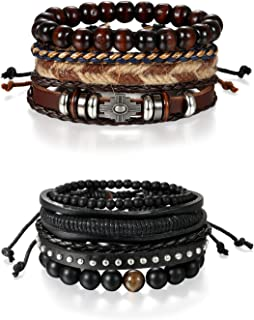 8 PCS Multi-Layer Stackable Wood Beads Charm Leather Braised Wrap Bracelets Sets with Hemp Cords Tribal Cross Charm