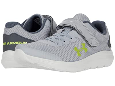 Under Armour Kids Surge 2 (Little Kid) (Mod Gray/White/Green Citrine) Kids Shoes
