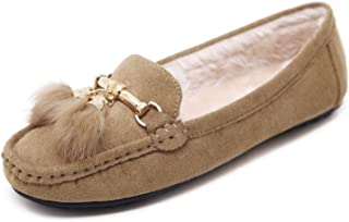 cdc47e490b73a Women's Flats Loafer Slip-On - Plush Suede Shoes with Gold Tassels Pendant