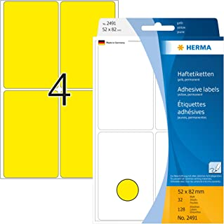 HERMA 2491 Vielzweck-Etiketten groß 52 x 82 mm, 32 Blatt, Papier, matt selbstklebend, permanent haftende Haushaltsetiketten zur Handbeschriftung, 128 Haftetiketten, gelb