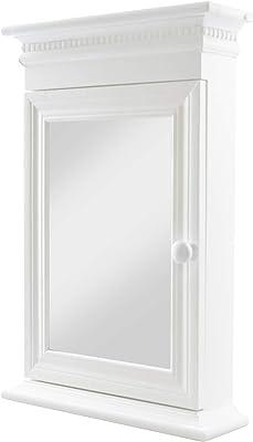Madera armario de llaves caja para llaves en color blanco antiguo montado en pared con espejo – 44 x 29 x 9: Amazon.es: Hogar