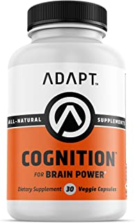 Adapt COGNITION | Nootropic | Formulated for Optimal Memory, Focus & Mental Performance | Vitamin B Complex, DMAE, Alpha GPC, Ginko Biloba, Rhodiola Rosea & More | Caffeine Free