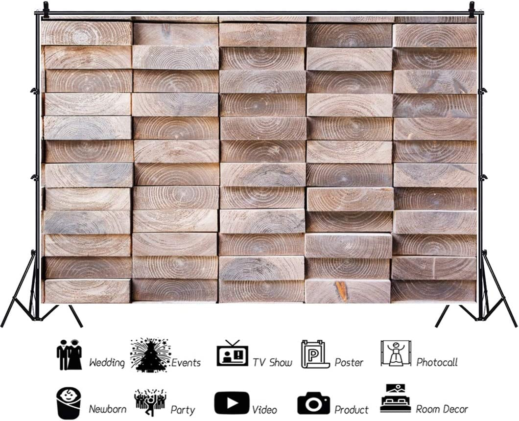 OERJU 12x10ft Vintage Stump Brick Wall Backdrop Rustic Retro Wood Wall Photography Background Baby Shower Cake Table Banners Happy Birthday Party Decor Kids Adults Portrait Photo Studio Props