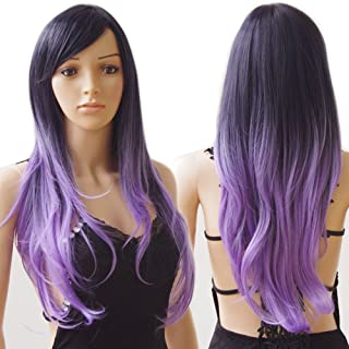 S-noilite Long Ombre Cosplay Hair Wigs Women Natural Wavy Heat Resistant Synthetic Dip Dye Full Wig with Bangs Colorful Party Costume (28inch, Black to Purple)