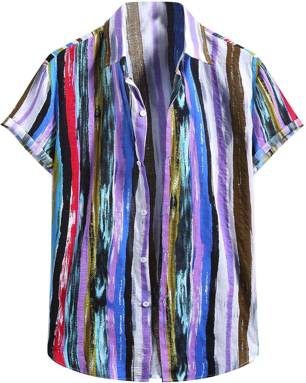 Mens Button Down Hippie Shirt Casual Loose Vertical Striped Short Sleeve Multi Color Cotton Linen Shirts