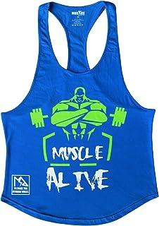 Muscle Alive Mens Bodybuilding Stringer Tank Tops Cotton Racerback Arch Hem