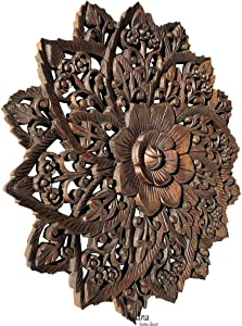 Water Lilly Round Wood Carved Wall Art. Tropical Bali Floral Rustic Home Decor. 24