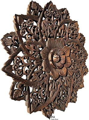 0fe6ece504 Water Lilly Round Wood Carved Wall Art. Tropical Bali Floral Rustic Home  Decor. 24