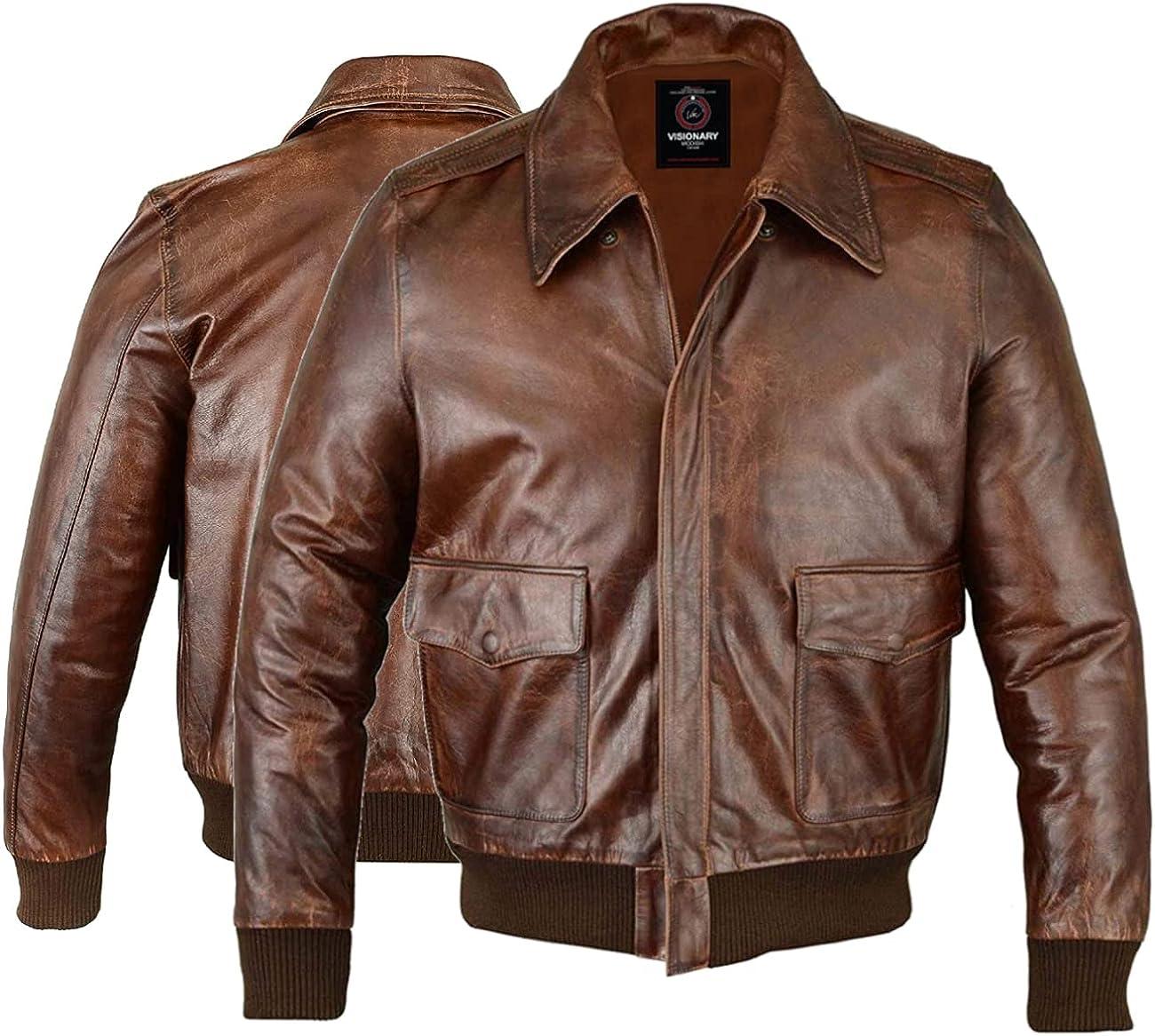Men's Fashion Air Force A-2 Flight Bomber Genuine Goat Hide One Skin Leather Jacket For Men - VM19217258
