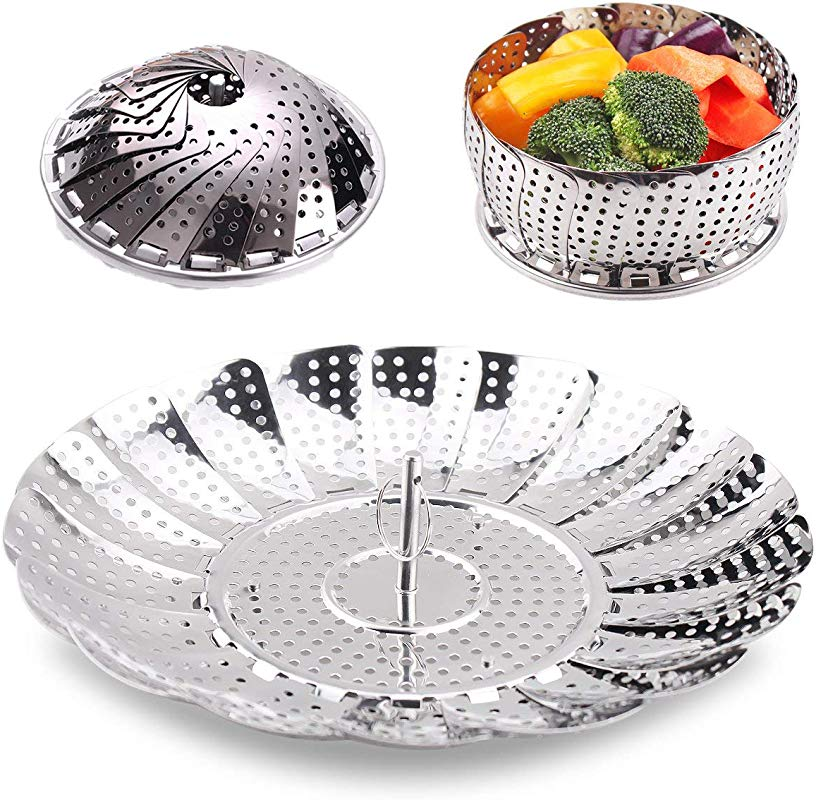 Vegetables Steamer Basket Stainless Steel Steamer Inserts For Pot Pans Crock And Pot Steamer For Fish Veggie Eggs And Seafood 5 5 Inch To 8 8 Inch Diameter