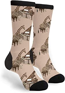 Brown Musical Giraffe Playing Piano Casual Cool 3D Printed Crazy Funny Colorful Fancy Novelty Graphic Crew Tube Socks