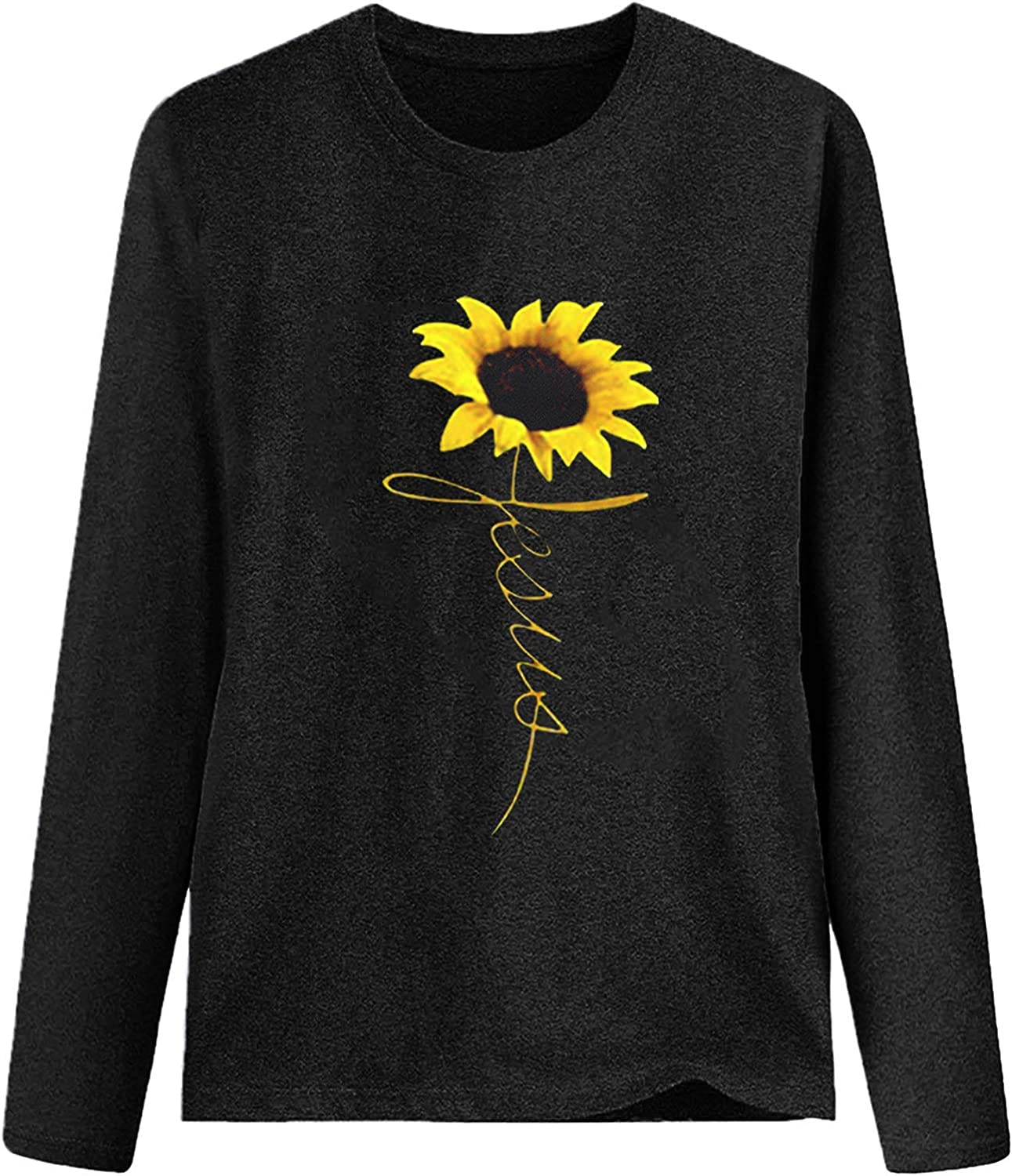 Women's Casual Long Sleeve T-Shirts Comfy Daisy Print Tops Loose Round Neck Flowy Tunics Comfy Breathable Blouses