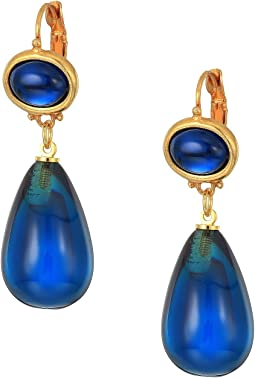 "Kenneth Jay Lane 1"" Montana Top Montana Drop Eurowire Earrings"