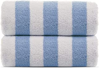 100% Turkish Cotton, Luxury Eco-Friendly Cabana Stripe Highly Absorbent Pool Beach Towels for Beach, Pools and Travel (30x60 inches) 2 Pack, Blue