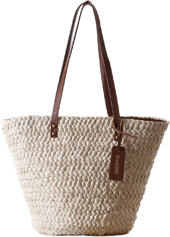 Women's Simple and Fashionable Tote Straw Beach Shoulder Bag Summer Handbag Beige (W)42X(H)28cm