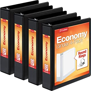 Cardinal 1.5 Inch 3 Ring Binder, Round Ring, Black, 4 Pack, Holds 350 Sheets (79519)