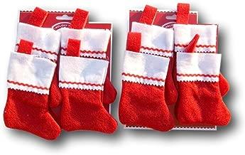 Holiday Time Miniature Red Felt Christmas Stocking Bundle - Set of 8