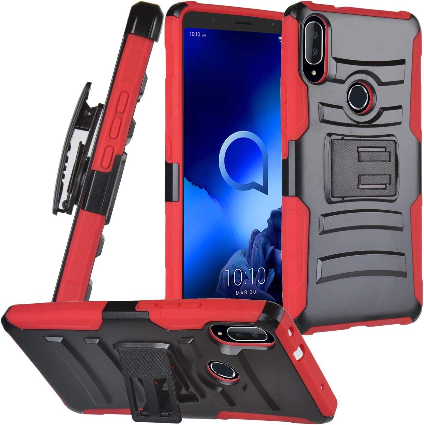 CELZEN - for Alcatel 3V (2019) 5032W - Hybrid Phone Case w/Stand/Belt Clip Holster - CV1 Red