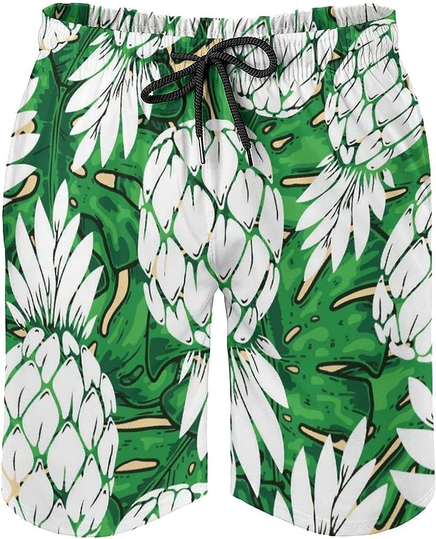 Men's Seaside Board Shorts Pineapple Green Leaf Pattern