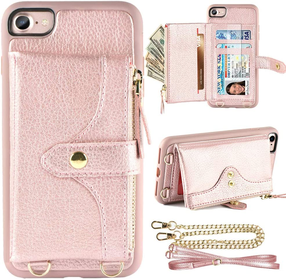 LAMEEKU Wallet Case Compatible with iPhone 7, iPhone 8 Case Wallet Card Holder Case SE 2020 Case Strap Crossbody Strap Zipper Case for iPhone 7/iPhone 8 iPhone SE 2020, 4.7 inches-Rose Gold