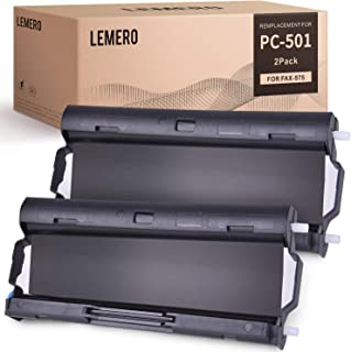 LEMERO 2 Pack PC501 Compatible with Brother PC-501 PC 501 PPF Print Fax Cartridge for Brother Fax 575 FAX-575 Printers