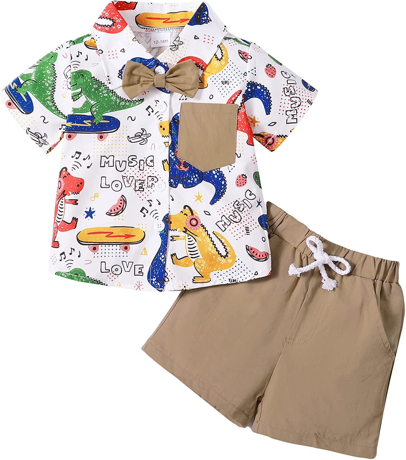 OLLUISNEO Baby Boy Clothes Toddler Kid Outfits Short Sleeve Button Down Shirt Little Boys Shorts Outfits Summer Boy Clothes