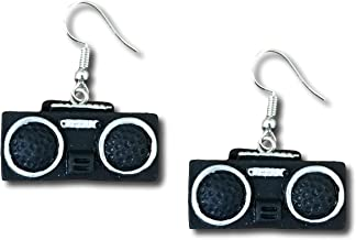 Old School Hip Hop Boombox Dangle Drop Earrings by Pashal (Black)