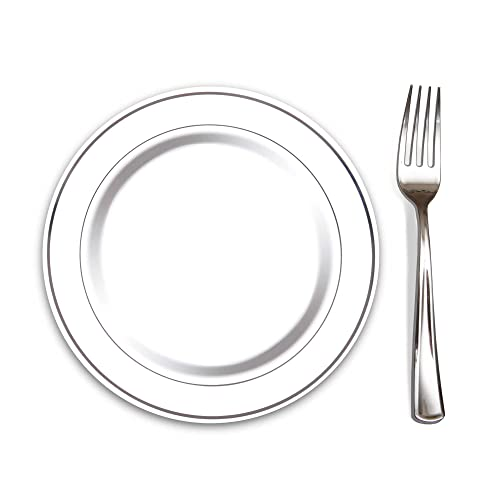 "100 Heavyweight Elegant Plastic Disposable 7.5"" Small Plates & 100 Silver Plastic Forks, Perfect"