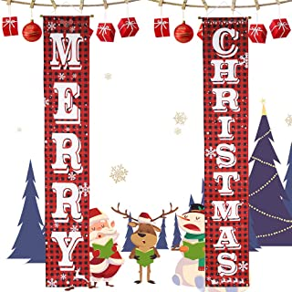 party club Merry Christmas Banner Christmas Porch Sign Red Black Buffalo Check Decorations Outdoor Indoor Xmas Decor for Home Wall Door Hanging