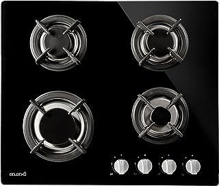 Plaque de cuisson gaz 4 feux verre noir - BELDEKO - Grille fonte, brûleur gaz naturel/propane, arrêt automatique