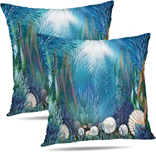 Darkchocl Set of 2 Decorative Throw Pillow Covers Underwater with Seaweed Treasure Ocean Shell Seashell Square Pillowcase Cushion for Couch Sofa Bed Cotton and Polyester 18 x 18 Inch