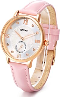 Time100 Womens Fashion Quartz Watch with Roman Numerals Fashion Diamond Leather Band Analog Watch for Women/Ladies (Pink Leather)