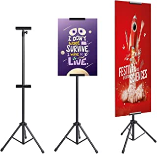AkTop Heavy Duty Tripod Banner Stand, Adjustable Poster Stand Retractable Height Up to 79.9 inches, Double-Sided Floor Standing Sign Holder for Board Sign Display