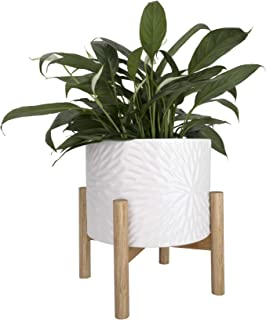 Ceramic Plant Pot with Wood Stand - 8 Inch White Cylinder Floral Pattern Embossed Flower Pot Indoor with Wooden Planter Ho...
