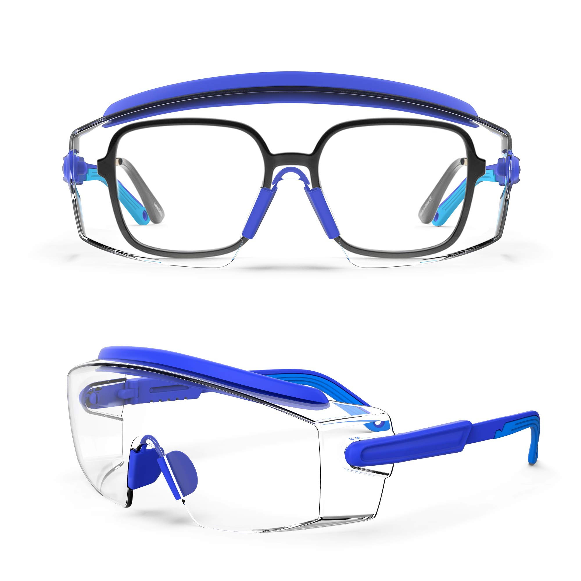 MEIGIX Anti Fog Safety Glasses Safety Goggles Over Glasses Protective Glasses with Anti Scratch Lenses Adjustable Frame And Temples,Clear Glasses,Lab Eyewear Goggles for men /& Women Blue 1 Pair