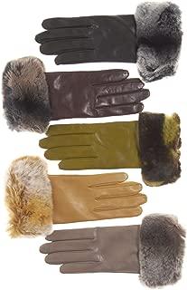 Fratelli Orsini Women's Italian Rex Rabbit Fur Cuff Lambskin Gloves