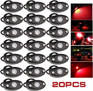 LEDMIRCY LED Rock Lights Red Kit for JEEP Off Road Truck ATV SUV Car Auto Boat High Power Underbody Glow Neon Trail Rig Lights Underglow Lights Waterproof Shockproof(Pack of 20,Red)