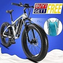 Cyrusher XF800 Fat Tire Electric Bike 1000W 48V Mens Mountain Bike Snow Ebike 26inch Bicycle Full Suspension Fork Hydraulic Brakes