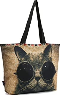 ICOLOR Cool Sunglasses Cat Gym Bag Shopping Tote Bags Shoulder Bag,Boys Girls Travel Beach Grocery Shoulder Bag with Zippe...