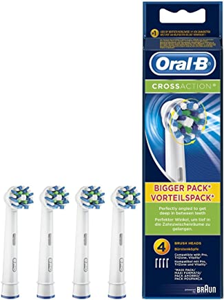 Oral-B CrossAction - Set de 4 recambios para cepillo de dientes eléctrico recargable (cabezal redondeado con diseño de inspiración profesional para limpiar diente por diente)