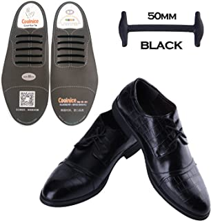 Coolnice No Tie Shoe Laces for Men and Women Silicone Elastic Waxed Thin Oxford Round Shoelaces for Dress and Leather Shoes