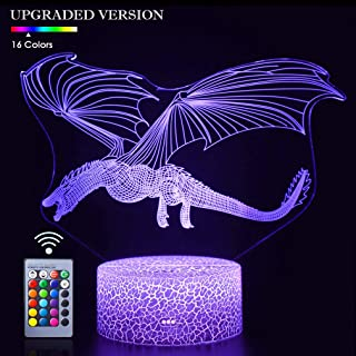 Dragon 3D Night Light Touch Table Desk Lamp,16 Colors & Remote Control 3D Optical Illusion Lights with Acrylic Flat & ABS Base & USB Cabler for Christmas Birthday Gift(Dinosaur Fly-2)