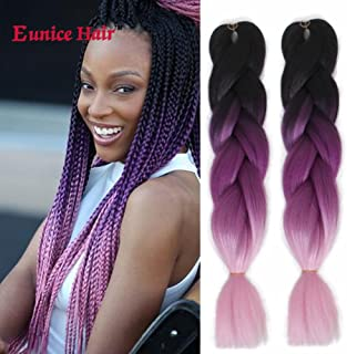 Eunice (6Packs 24 inch) 3 Tone Black Purple Pink Jumbo Braid Ombre Braiding Hair Extensions Afro Box Braids Crochet Hair Synthetic Fiber Braiding Hair 100g/pack (Black-purple-pink)