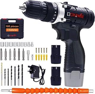 Cordless Drill Driver, GOXAWEE Cordless Screwdriver Drill Set, 2 Batteries 1500mAh, Max Torque 30Nm, 2-Speed, 10mm Automat...